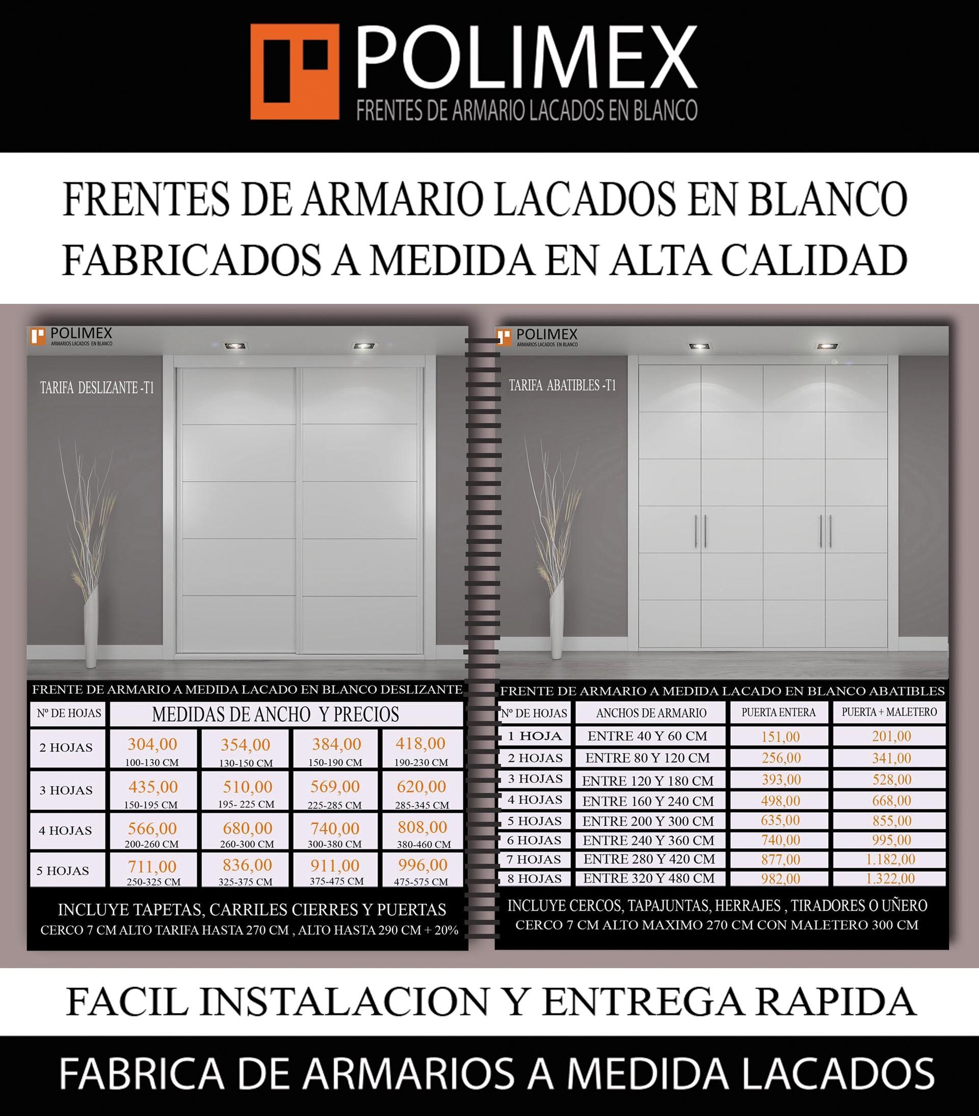Tarifa de frentes de armario lacados en blanco